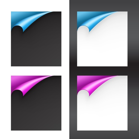 Set of Black and White Papers with Bent Corners Stock Vector - 14955191