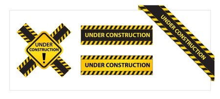 bulding: Set of Labels and Ribbons with Under Construction Tag Illustration