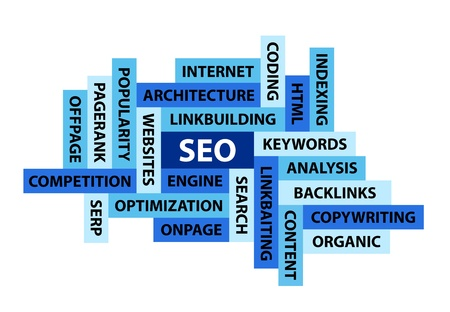 backlinks: Abstract Image Composed from Words Related to SEO