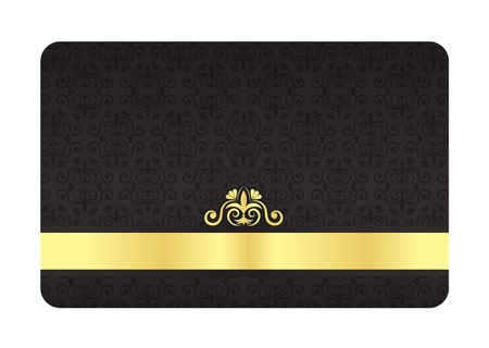 Black VIP Card with Vintage Pattern and Golden Label Vector