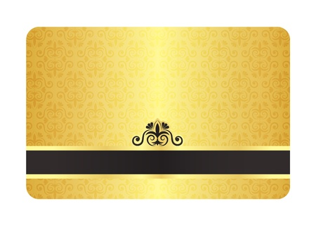 Gold Card with Vintage Pattern Illustration