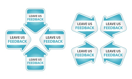 feed back: Blue Arrows with Leave Us Feedback Tag