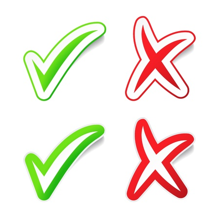 yes and no: YES , NO Checkmarks Stickers Illustration