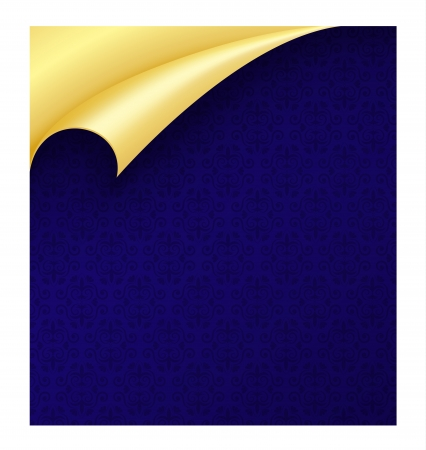 curled edges: Carta blu con texture vintage e arricciato angolo d'oro