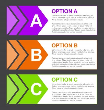 ABC Option Blocks with Short Description Stock Vector - 16601909
