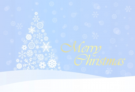 Blue Christmas Background with White Snowflake Tree