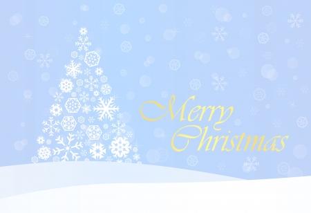merry chrismas: Blue Christmas Background with White Snowflake Tree