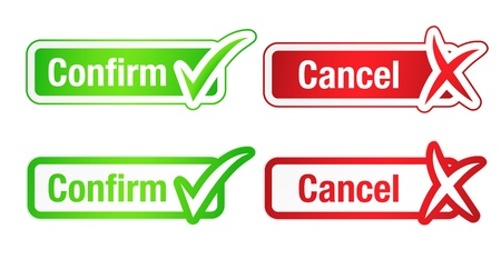 sign ok: Confirm and Cancel Buttons with Checkmarks Illustration