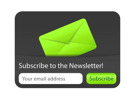 Abonneren op nieuwsbrief website element met groene envelop Vector Illustratie