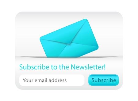 Licht abonneren op de nieuwsbrief website element met blauwe envelop