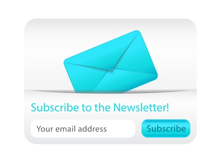 e data: Light subscribe to newsletter website element with blue envelope