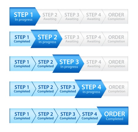 workflow: Barre de progression bleue pour Processus de commande Illustration