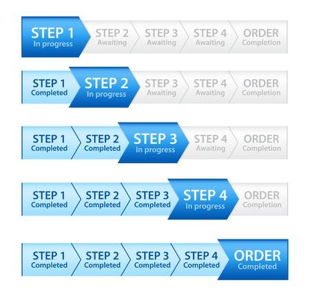 indicatore: Progress Bar Blue per il processo d'ordine Vettoriali