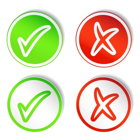 unchecked: Round Stickers with YES and NO Checkmarks Illustration
