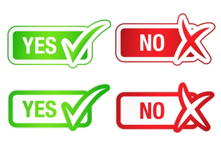POSITIVE NEGATIVE: YES and NO Checkmarks Buttons