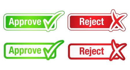 Approve   Reject Buttons with Checkmarks Stock Vector - 16823071