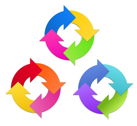 Arrows in Circle in 3 Colors Sets Stock Vector - 17209150