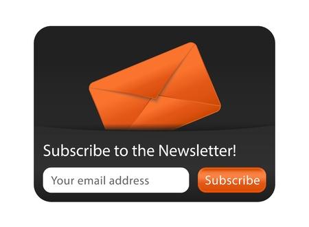 newletter: Modulo Newsletter con busta arancione Vettoriali