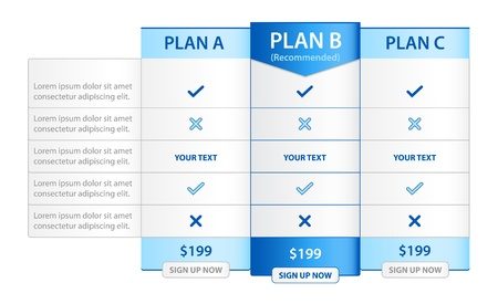 comparisons: Pricing List with 3 Versions Comparision Illustration