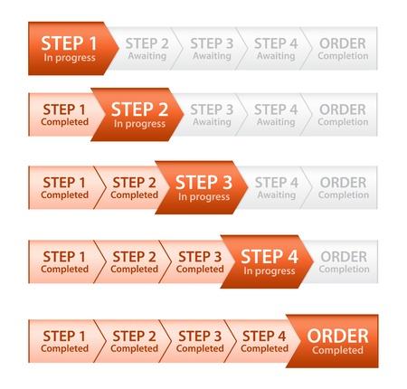 Oranje Progress Bar voor Order Process Vector Illustratie