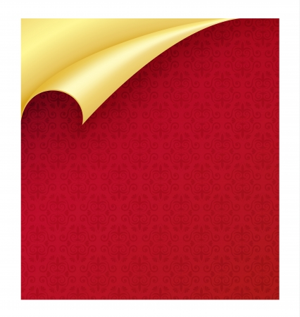 curled corner: Red paper with vintage texture and curled corner in gold color