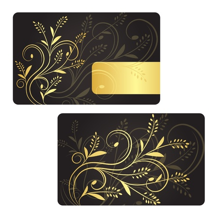 Luxury business card with golden floral decoration. Front and back side. Vector