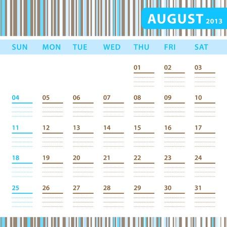 Planning Calendar - August 2013 Stock Vector - 17855828