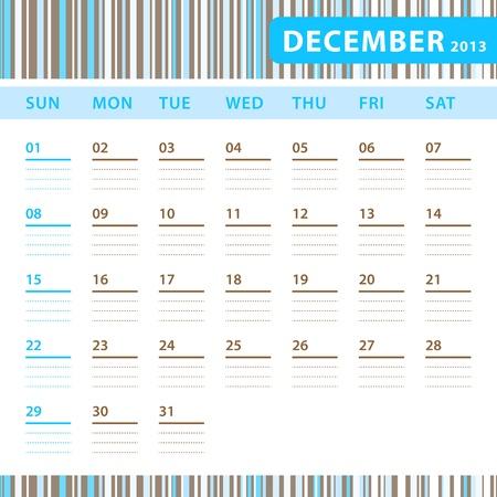 Planning Calendar - December 2013 Stock Vector - 17855831
