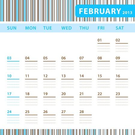 Planning Calendar - February 2013 Stock Vector - 17855820