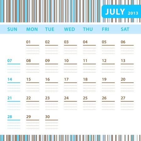Planning Calendar - July 2013 Stock Vector - 17855823
