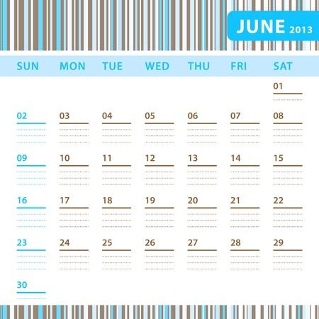 Planning Calendar - June 2013 Stock Vector - 17855821