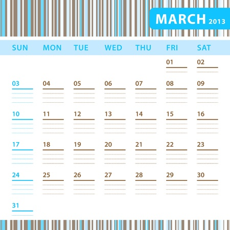 Planning Calendar - March 2013 Stock Vector - 17855822