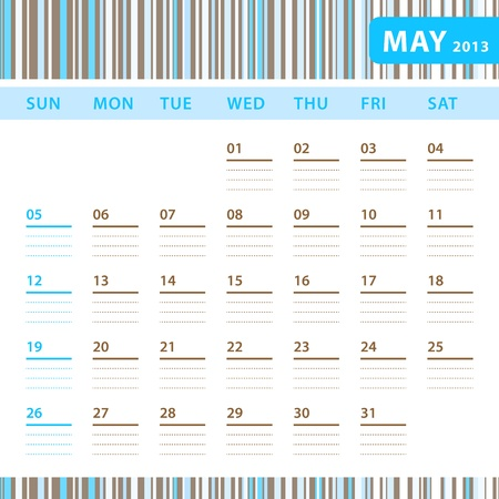 Planning Calendar - May 2013 Stock Vector - 17855827
