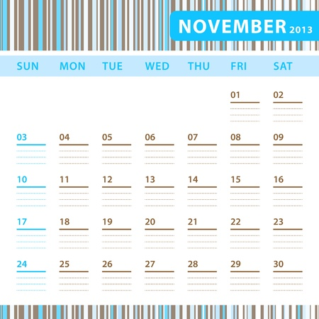 Planning Calendar - November 2013 Stock Vector - 17855825