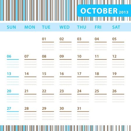 Planning Calendar - October 2013 Stock Vector - 17855830