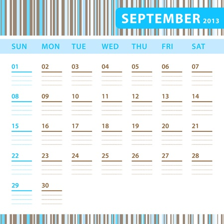 Planning Calendar - September 2013 Stock Vector - 17855826
