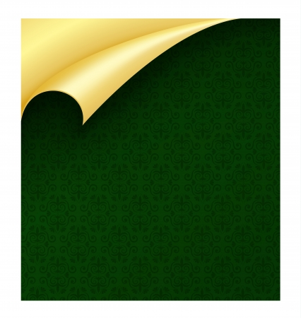 page curl: Dark green luxury wrapping paper with vintage pattern and curled golden corner