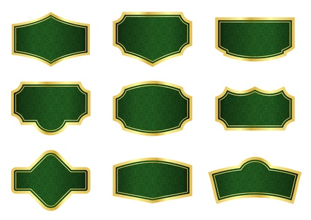 Dark green vine labels with gold frames Stock Vector - 17855845