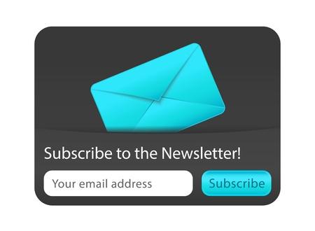 Abonneren op nieuwsbrief webformulier met blauwe letter