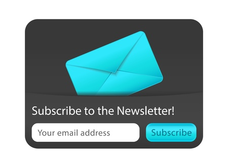 Subscribe to newsletter web form with blue letter Illustration