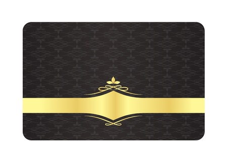 Black Decorative Card with Vintage Pattern and Golden Label Vector