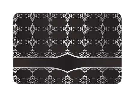 Black Decorative Card with Silver Pattern Stock Vector - 18045105