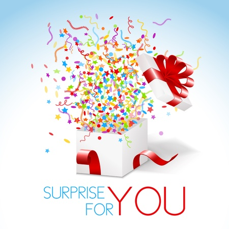 celebrate: White box with red ribbon and colorful confetti and swirls. Surprise for you title.