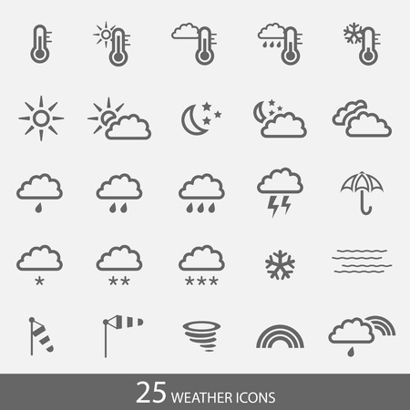 Set of 25 weather icons with stroke. Simple grey icons for web and applications.