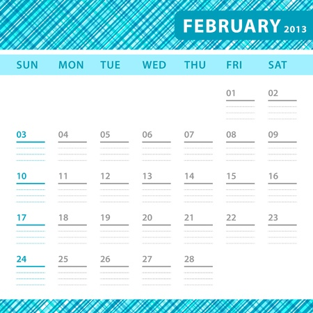 February 2013 planning callendar with space for notes. Checked blue texture in background. Stock Vector - 18197232