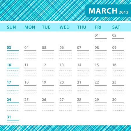 March 2013 planning callendar with space for notes. Checked blue texture in background. Vector