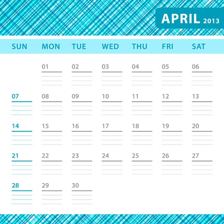 April 2013 planning callendar with space for notes. Checked blue texture in background. Stock Vector - 18197235
