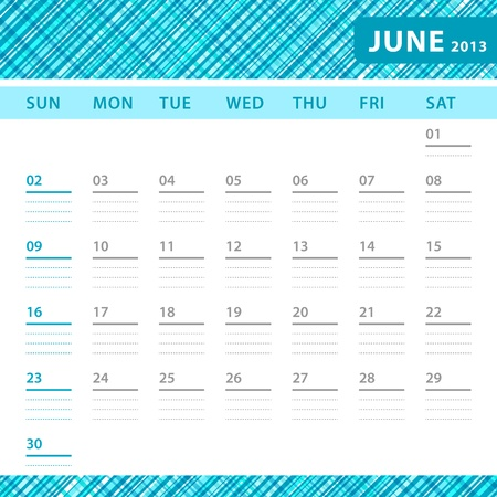 July 2013 planning callendar with space for notes. Checked blue texture in background. Stock Vector - 18197233