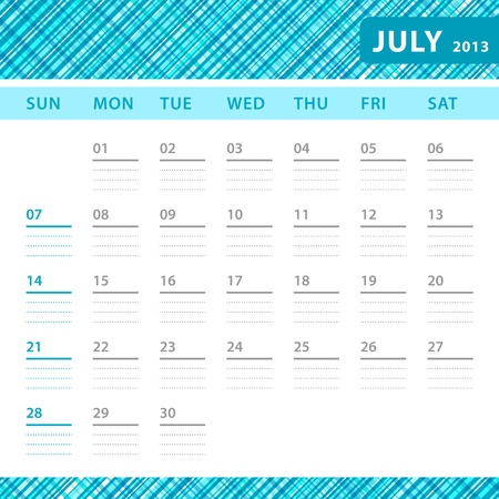 July 2013 planning callendar with space for notes. Checked blue texture in background. Stock Vector - 18197236