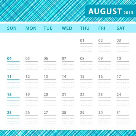 agosto: Agosto 2013 la pianificazione callendar con spazio per le note. Bluetexture Controllato in background. Vettoriali